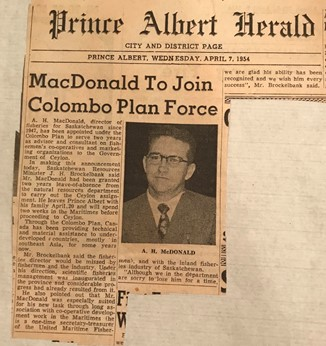 "Newspaper Clipping of article titled ""MacDonald to Join Colombo Plan Force"""