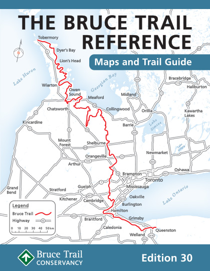 A map of the Bruce Trail in Southern Ontario