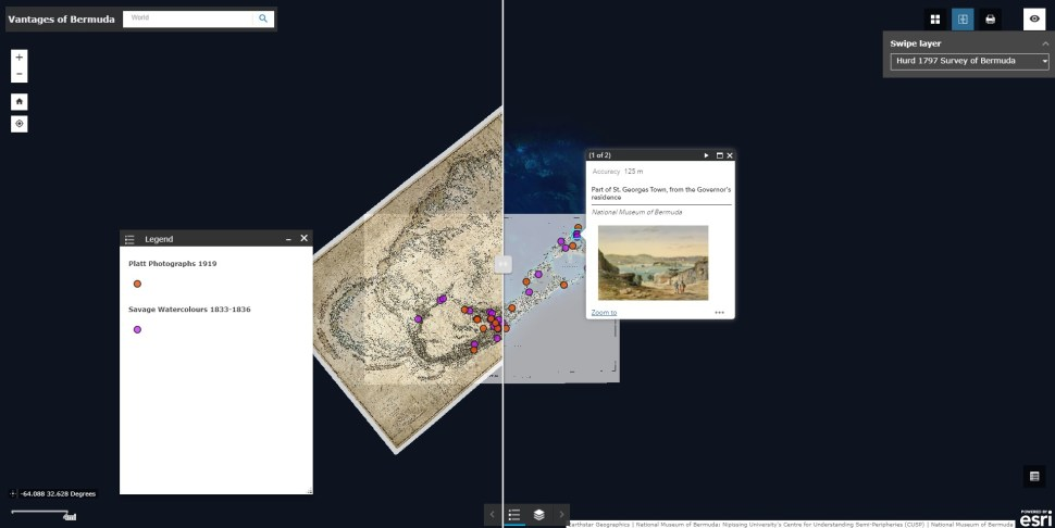 Screenshot of a GIS interface with layers of maps, data points, pop-up images.