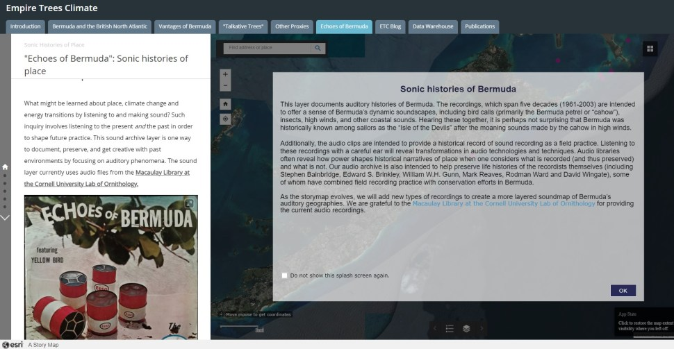 "Interface of GIS layer called ""Echoes of Bermuda"" including splash screen with text and album cover image of oil barrels on a beach."