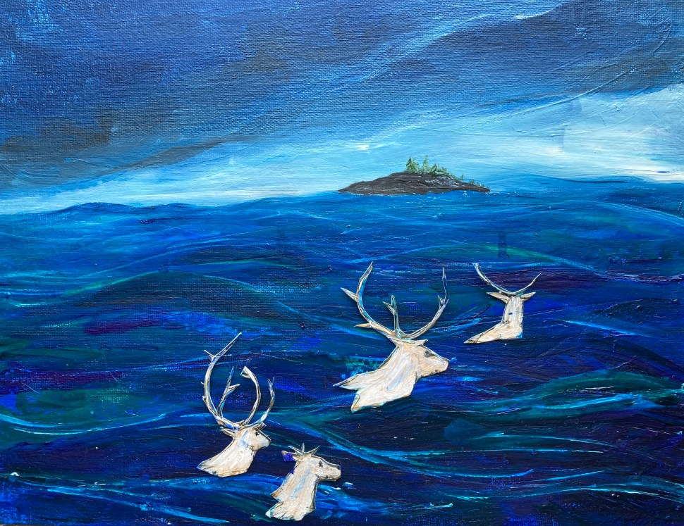 painting of migrating caribou
