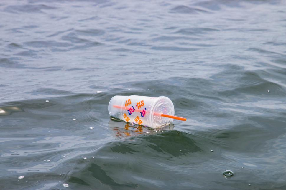 A plastic cup with drinking straw floating in the sea.