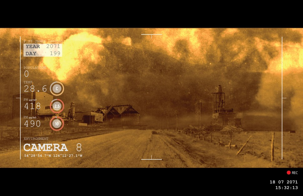 A negative image of the future: this is a fake videocamera still of a town consumed by wildfires. Date and time stamps and a recording light in the bottom right corner, and metadata on the left-hand side, give the impression of authenticity. The year is marked as 2071.