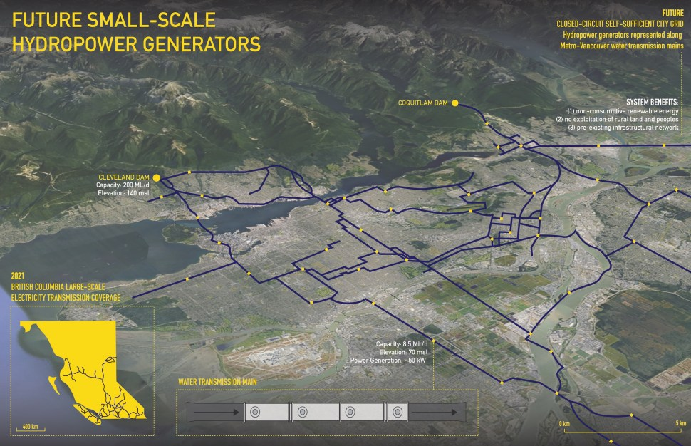 Innovative alternative: a map of Vancouver, with a new infrastructure of small-scale hydropower generators superimposed upon it as a new energy network.