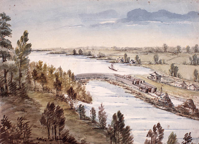 A painting of the Rideau Canal. Looking over a lock.