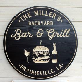 Bar & Grill Sign, Bar Signs, Personalized Bar Sign, Carved Wood Signs, Custom Signs, Wedding Gift, Father's Day Gift, Gifts for Men(8886)