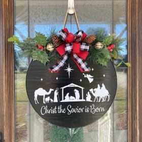 Christmas Door Hanger, Merry Christmas Wreath V1, Merry Christmas Sign, Christmas Front Door Decor, Farmhouse Christmas, Christmas Sign(8886)