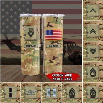 US Army, Skinny Tumbler, Military Rank Tumbler, Veteran Ranks Tumbler, Custom Rank Tumbler Mug, Skinny Tumbler All Over Printed