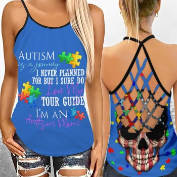 Autism Is A Journey Autism Awareness Mom Criss Cross Tank Top
