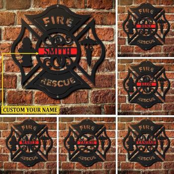 Firefighter Personalized Metal Maltese Cross Sign, Firefighter gift, Monogram Door Hanger, Firefighter gift