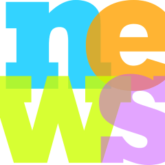 Colorful arangement of the word new, two letters and two letters below acrosss
