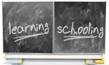 Learning and school captions on blackboard