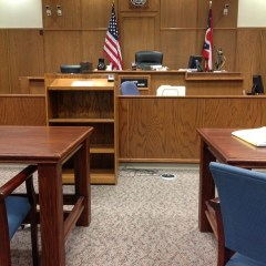 Empty courtroom setting