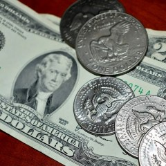Twenty dollar-Bills and silver coins s
