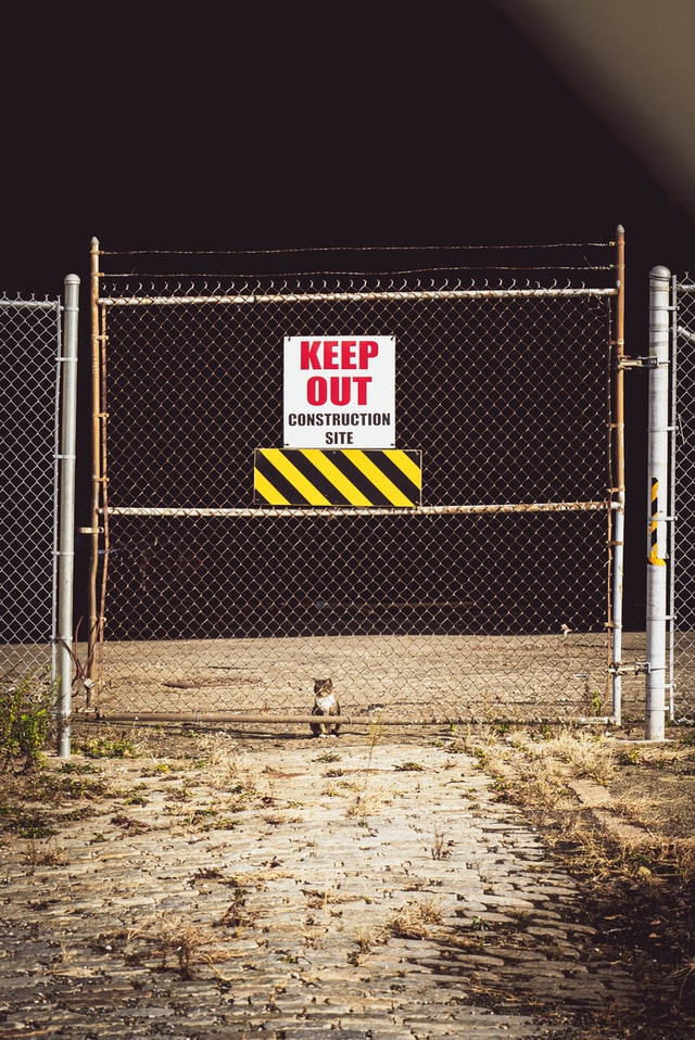 Keep out sign on gated outdoor construction site. But inside is a tiny kitter peering outward inside the business