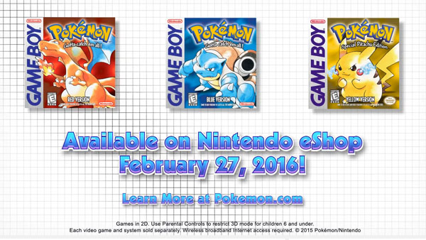 Pokemon Red Blue And Yellow Set To Launch On EShop