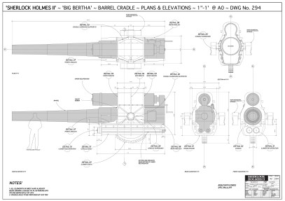 'Big Bertha' cannon 2D dwg for physical build