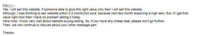 My reply to website buyer