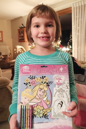 Lillian with her Color by Number gift.