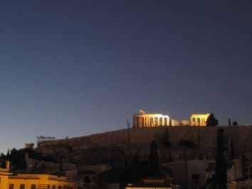 The Acropolis, lit up for the occasion
