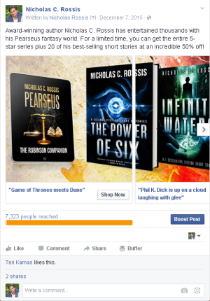 FB ads - sale | From the blog of Nicholas C. Rossis, author of science fiction, the Pearseus epic fantasy series and children's books
