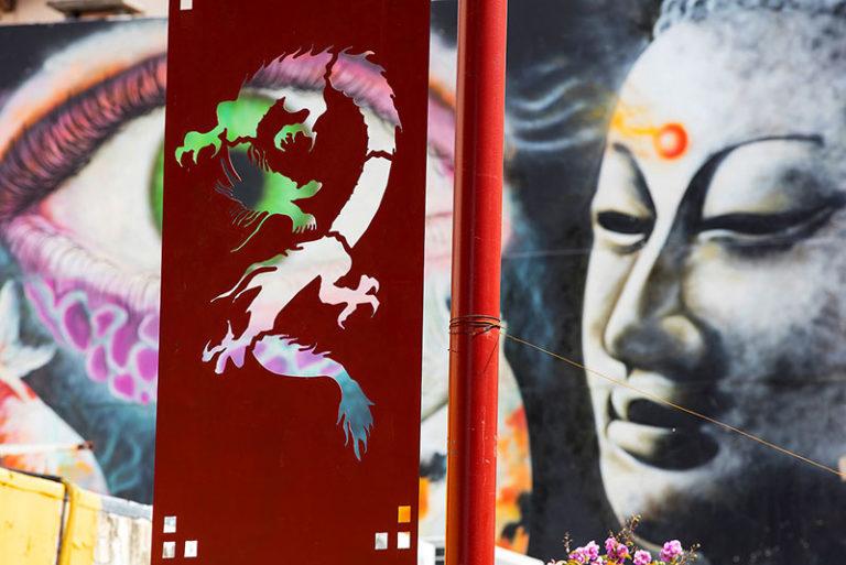 Arte callejera en el Barrio Chino de Buenos Aires