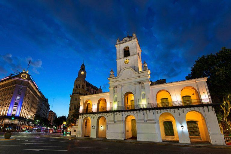 The Cabildo Museum of Buenos Aires at twilight