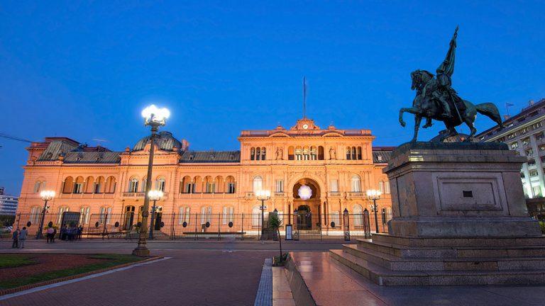 The Casa Rosada at twilight, Buenos Aires