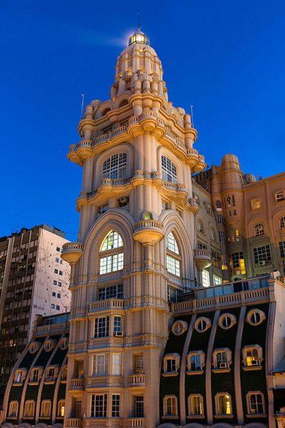 The main facade of Palacio Barolo at twilight, Buenos Aires