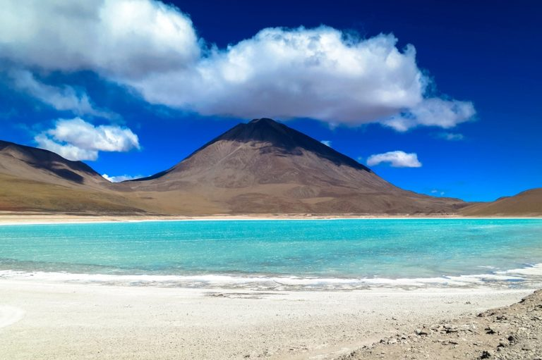 Green lagoon in Atacama Chile