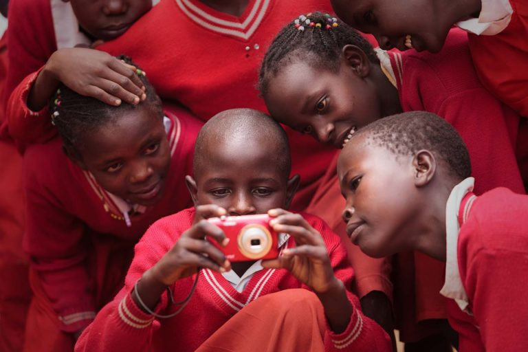 Children participating in a photography workshop, Kenya