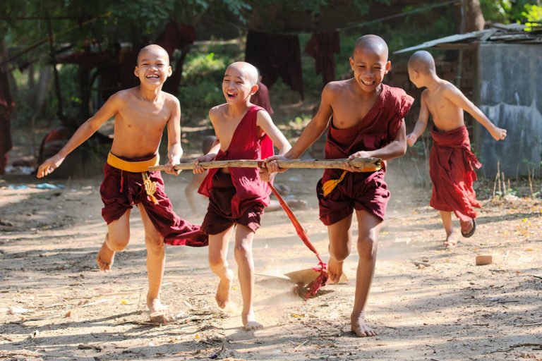 monks playing in a temple