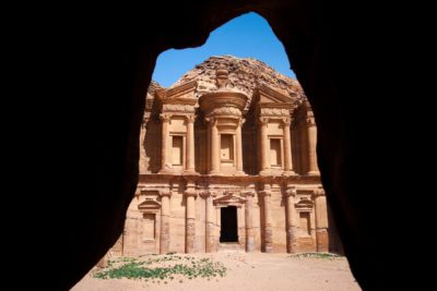 Natural frame of the monastery in Petra, Jordan