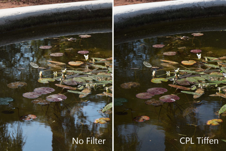 Water reflection polarizer filter
