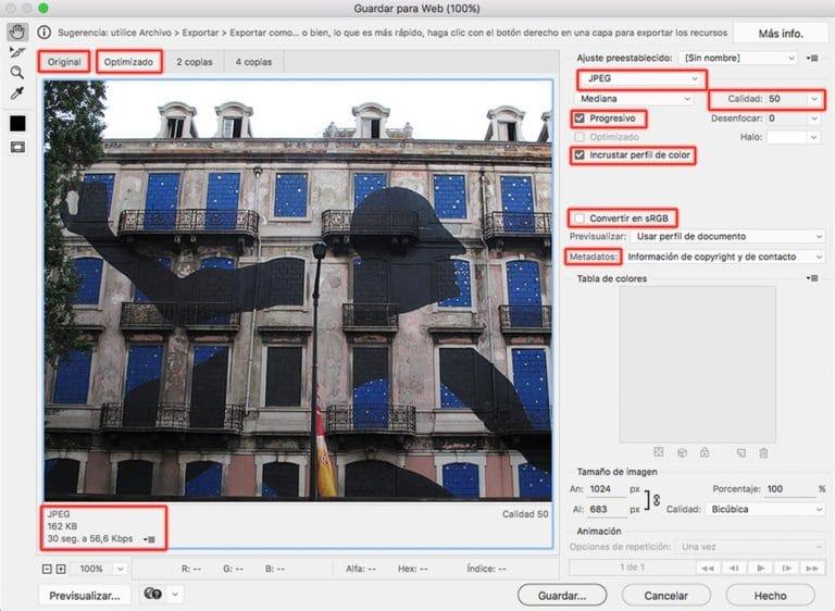Optimizar imágenes para la web con Photoshop
