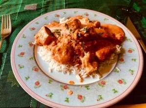 Indisches Butterhuhn Murgh Makhani, danach eine Cassata Siciliana