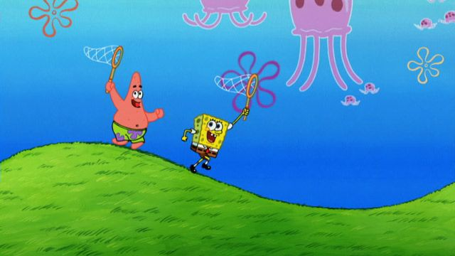 Image result for spongebob jellyfish catching gif