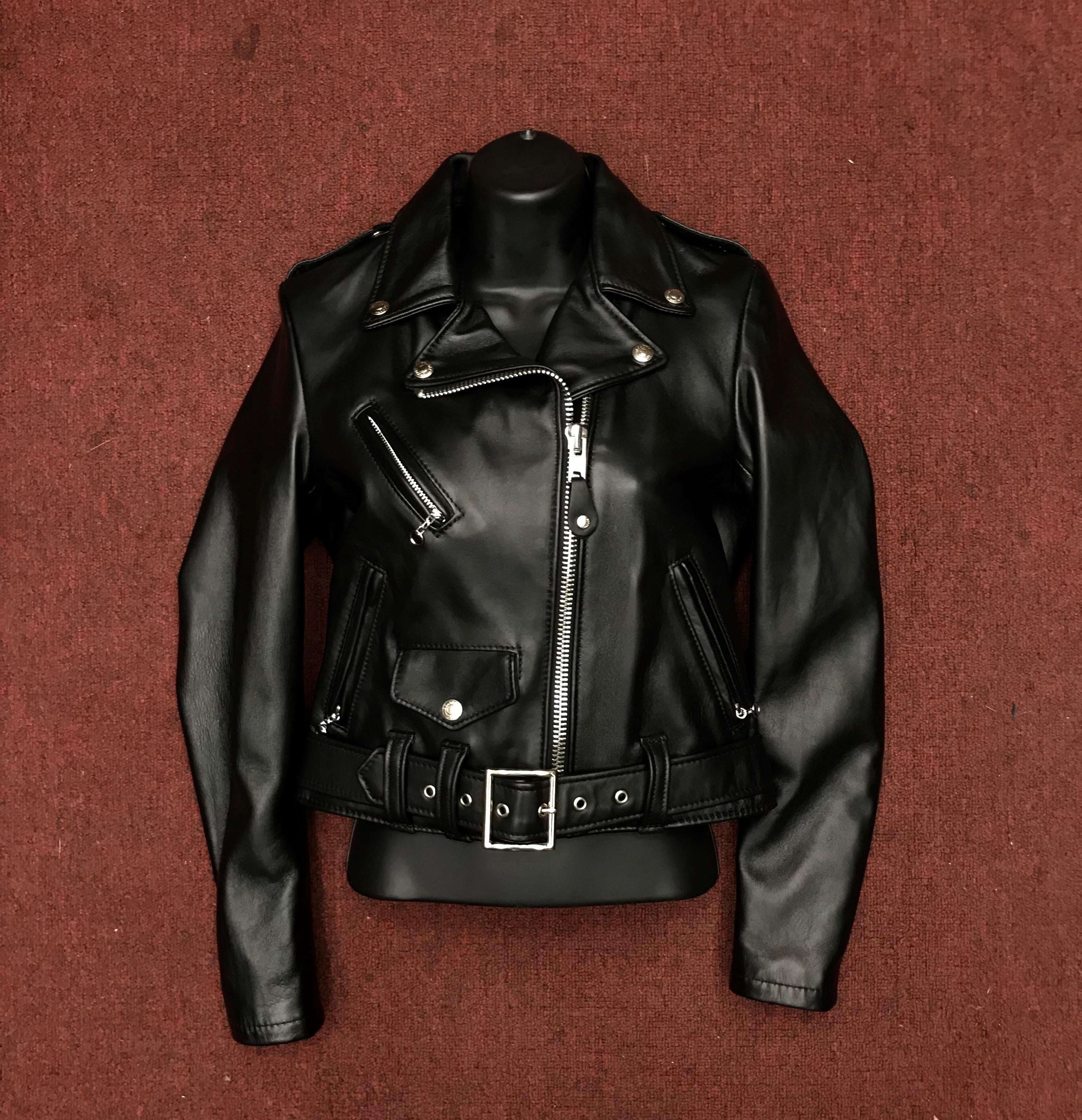 a8804bf47 Schott Women's Cropped Perfecto Black Lambskin Leather Jacket