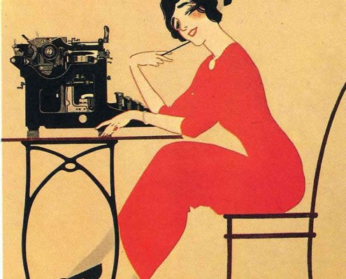 lady sitting at typewriter