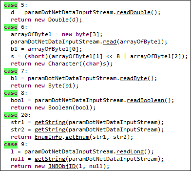Case statements within the getValue() method.