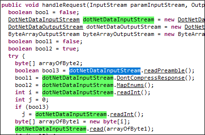 The handleRequest() method of the class BinaryRequestHandler().