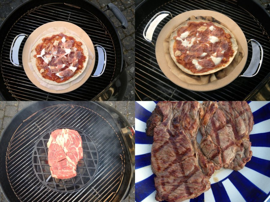 Learning by doing... Heutige Lektionen: Gegrillte Pizza, Steak