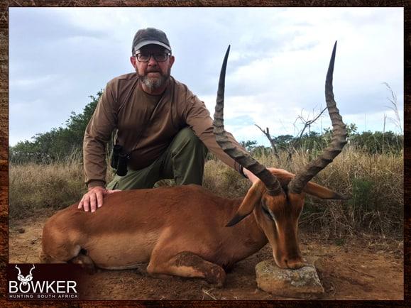 Impala hunt using African shooting sticks.