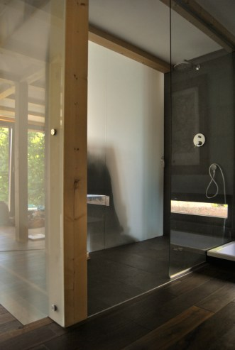opaque glass and natural slate