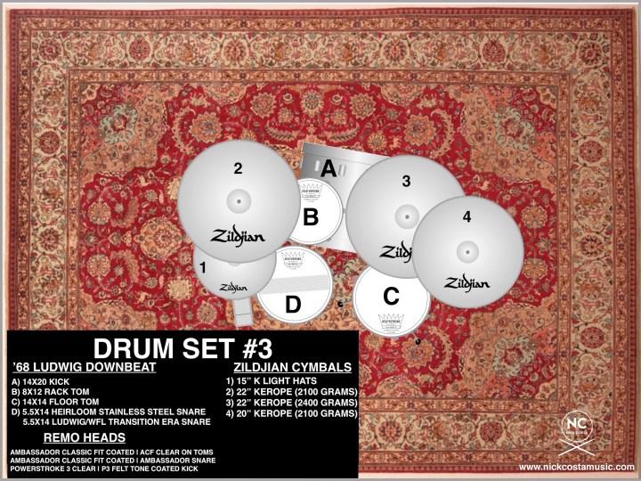 nick costa Ludwig downbeat setup with zildjian cymbals and remo heads