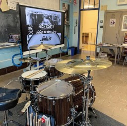 Nick Costa's clinic setup for his workshop on how to integrate drum set studies into the general music classroom. Ludwig Drums, Remo Heads, Vic Firth Sticks, Zildjian Cymbals.