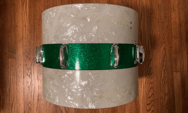 60s Slingerland Tenor Tom Drum restored by nick costa. White Pearl with Green Glitter center stripe