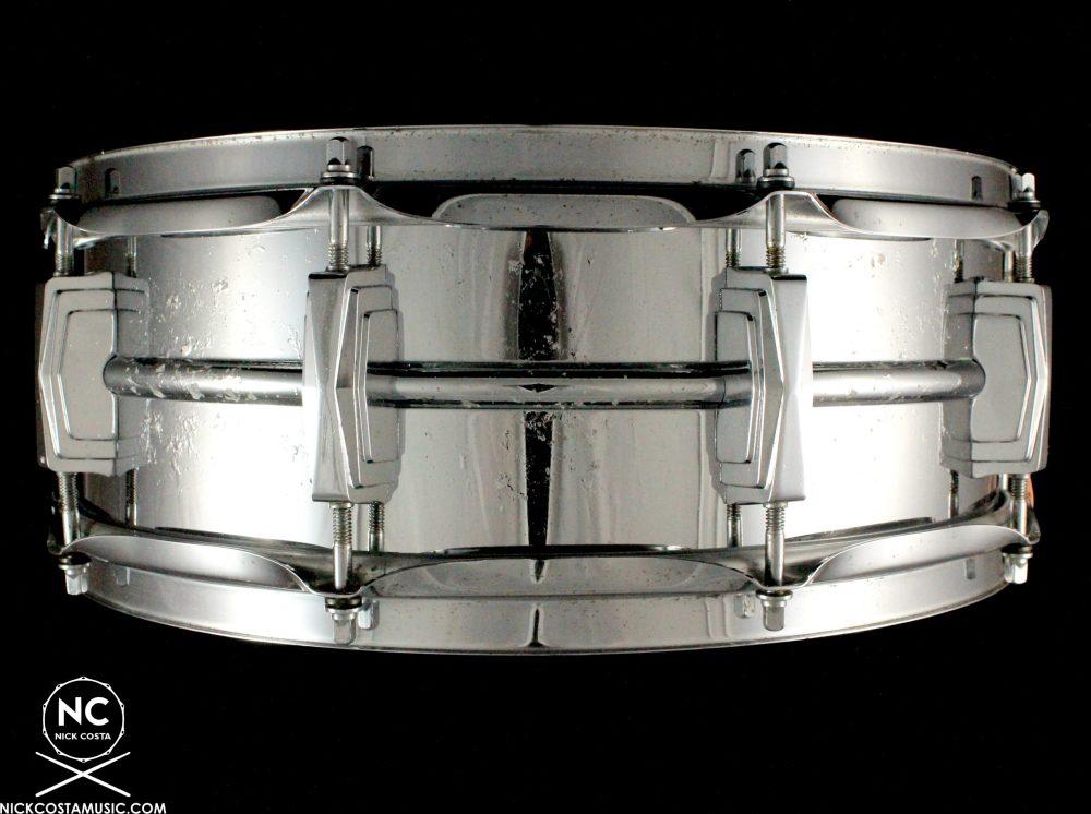 1970s Ludwig Supraphonic Vintage Snare Drum Blue Olive Badge 5X14
