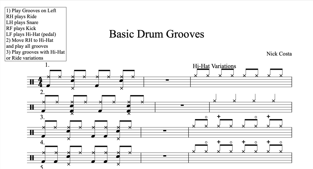 Basic Drum Grooves Traditional Notation by Nick Costa. 40 basic drum grooves in an 8th note subdivision with several hi-hat and ride variations! nick costa music nick costa drums nick costa educator nick costa ludwig nick costa remo nick costa vic firth nick costa zildjian