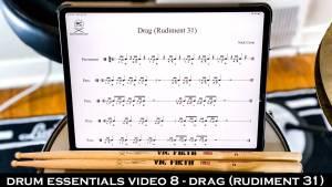 Drum Essentials Video 8 - Drag (Rudiment 31) NickCostaMusic.com nick costa music nick costa drums nick costa teacher drum lesson drum fundamentals drum rudiments